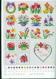 "Floral Cross Stitch Pattern Could also use yarn to ""back stitch"" on pixel crochet blankets @ Biscornu Cross Stitch, Tiny Cross Stitch, Cross Stitch Cards, Cross Stitch Designs, Cross Stitching, Cross Stitch Embroidery, Embroidery Patterns, Cross Stitch Patterns, Cross Stitch Flowers Pattern"