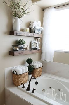 Diy Floating Shelves And Bathroom Update Bath Tub Decor Ideasbath