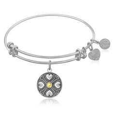 An expandable bangle in white tone brass. Strength. Wisdom. Courage.Specification Condition: New with tags Finish: Polished Metal: Brass Style: Stackable