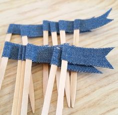 Denim Cupcake Topper Cupcake Pennant Flag Wooden by ThePartyApple