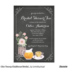 Chic Teacup Chalkboard Bridal Shower Invitation More pretty bridal shower invitations in the Little Bayleigh Store!