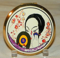 1940's Stratton GEORGES LEPAPE DECO Vanity Powder Compact Vintage 40's Rare 20's Geisha Girl Print Novelty Scene Make Up Compact England