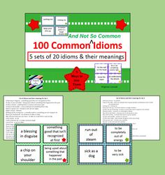Introduce your students to idioms with these 100 idiom/meaning cards PLUS 5 suggested ways to use the cards in the classroom.