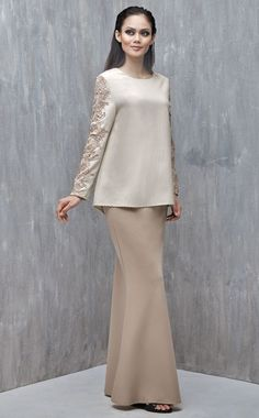 Baju Kurung with Lace (Nude) Muslim Fashion, Modest Fashion, Hijab Fashion, Fashion Dresses, Modest Wear, Modest Outfits, Trendy Dresses, Cute Dresses, Baju Kurung Lace