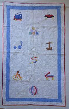 """Applique Baby Quilt--Little Boy Toys CUTE, 33"""" x 54"""""""