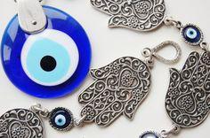 Hamsa Hand Wall Hanging Amulet Handmade Turkish by TheGrandBazaar, $25.00