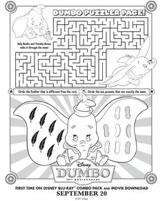 Printable Dumbo Maze Printables For Kids Free Word Search Puzzles Coloring