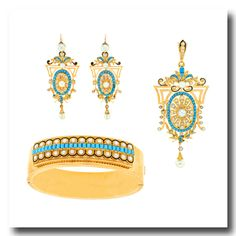 Inv. #16732  Victorian Demi-Parure Turquoise and Pearl 18k c1870s. Lawrence Jeffrey Estate Jewelers.
