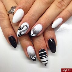Image via We Heart It #black #manicure #nailart #nailpolish #nails #white #nailideas #manicureideas
