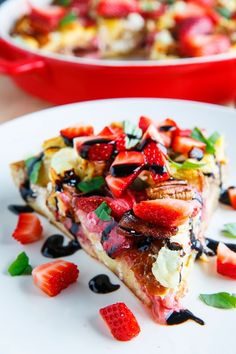Strawberry, Bacon and Goat Cheese Strata with Balsamic Syrup | holy yumness.