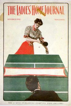 An American Gilded Age fashioned lady and gentleman, playing a game of Table-tennis, (Ping-Pong). Appearing on the October, cover of: The Ladies Home Journal. Tennis Legends, Old Advertisements, Sports Art, Retro Toys, Vintage Table, Baseball Cards, Job 1, Gilded Age, Philadelphia Pa