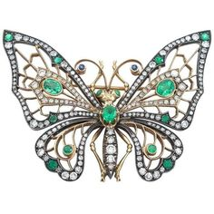 Emerald Diamond 14Karat Gold and Silver Butterfly Brooch (10 155 AUD) ❤ liked on Polyvore featuring jewelry, brooches, diamond jewelry, emerald brooch, monarch butterfly jewelry, diamond jewellery and diamond brooch