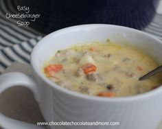 Easy Cheeseburger Soup - Whipped this up today with stuff I had so everything but celery and it is DELISH!!!  Perfect hardy soup for a cold SC night!!!