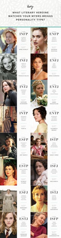 Know your Myers-Briggs Personality Type? Find Out What Literary Heroine Matches You Know your Myers-Briggs Personality Type? Find Out What Literary Heroine Matches You - Verily<br> We have 16 literary heroines for every MBTI. Personality Psychology, Infp Personality, Myers Briggs Personality Types, Myers Briggs Personalities, Psychology Quotes, Enfp And Infj, Mental Training, A Course In Miracles, Personality Types