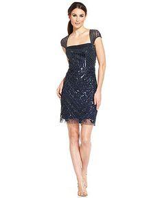 Adrianna Papell Cap-Sleeve Illusion Beaded Sheath - Dresses - Women - Macy's