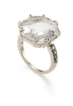 Anel moonlight de ouro nobre com cristal de rocha. Porque a mamãe merece!!!