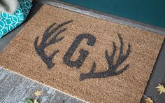 Antler and Monogram Doormat Stencil by Lia Griffith