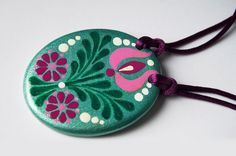 Handpainted Wooden Necklace with Hungarian folk motives