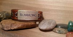 Leather Cuff Bracelet-Be Amazing-Chestnut by LeatherVision on Etsy