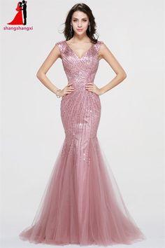 Dubai Pink Long Evening Prom Dresses 2017 V Neck Stones Plus Size Mermaid  Party Formal Dress Vestidos De Festa Robe De Soiree -in Evening Dresses  from ... e14d030e13e1