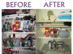 Linen closet organization - use $1 store clear plastic bins to organize all your items! #Vocalpoint #organize