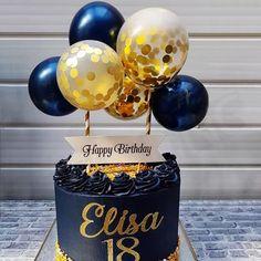 Balloon Birthday Cakes, 21st Birthday Cakes, Birthday Cake Toppers, 60th Birthday, Glitter Balloons, Glitter Cake, Confetti Balloons, Elegant Birthday Cakes, Balloon Gift