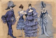 Irene Sharaff (American, Sheet with Four Costume Designs inspired by Mata Hari, c. Theatre Costumes, Movie Costumes, Fashion Sketchbook, Fashion Sketches, Fashion Illustrations, Costume Design Sketch, Hollywood Costume, Sketchbook Inspiration, Historical Costume