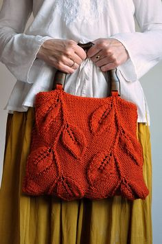 Forever Autumn - handknit leafy purse