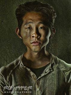 A re-edited Walking Dead promo photo featuring Glenn, incorporating a combined caricature and paint Filter effect. The Walking Dead: Glenn: Caricature Filter Re-Edit Glen Walking Dead, Walking Dead Series, Cartoon Faces, Funny Faces, Cartoon Characters, Celebrity Caricatures, Celebrity Drawings, Black And White Cartoon, Caricature Artist
