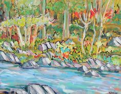 """End of the Rapids"" by Karen Sloan @ Wall Flower Studio - 11x14 acrylic on canvas. Sold"