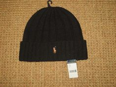 fdcaf04f652 New polo ralph lauren beanie hat winter wool black men s pony logo