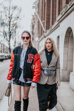 street style Zalando Moam fashion show in amsterdam.  the tall blonde and the wild girl , fashion bloggers from Belgium