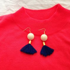 Cream bead & navy tassel earrings by LittleMyym on Etsy