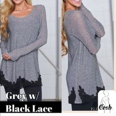 Cute Light Weight Grey Top w/Lace Cute long sleeve grey top with black lace @ the bottom. Top is a light weight T, but has cute black lace @ bottom all around. Have small left. Cosb Tops Tees - Long Sleeve
