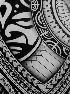 I created a Polynesian half sleeve tattoo design for my brother, displaying many of the typical patterns shown in Polynesian art. This is a very detailed freehand piece, completed only in black pen and pencil.