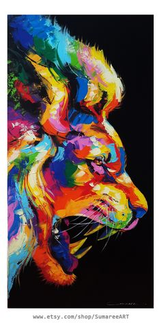 Powerful Lion Abstract Art