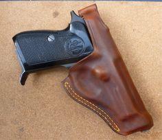 Custom double row seam back snap holster for 70 series Beretta by makeitjones.co.uk