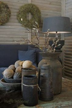 grey and green again Rustic Room, Decor, Rustic Decor, Bed In Living Room, Primitive Decorating, Interior Deco, Rustic Interiors, Home Decor, Home Deco