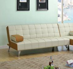 Lytton Beige Brown PU Adjustable Sofa