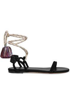 Isabel Marant | Astrid tasseled leather-trimmed suede sandals | NET-A-PORTER.COM