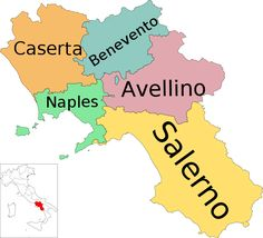 Map of region of Campania, Italy, with provinces. My maternal grandparents were from the province of Caserta.
