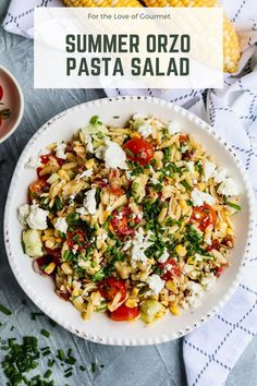 Summer orzo pasta salad is bursting with flavor and seasonal ingredients: fresh corn, cherry tomatoes, orzo pasta, cucumber, bacon, and goat cheese come together for a delicious and easy picnic side dish. Don't miss this easy pasta salad recipe! #pastasalad #summer #bbq Fresh Salad Recipes, Easy Pasta Salad Recipe, Pasta Recipes, Beef Recipes, Cooking Recipes, Recipies, Dinner Recipes, Picnic Side Dishes, Summer Side Dishes