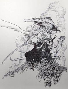 Usagi Yojimbo by Eric Canete * - Art Vault Comic Book Characters, Comic Books Art, Graffiti Characters, Ink Illustrations, Illustration Art, Usagi Yojimbo, Samurai Artwork, Comic Manga, Manga Drawing