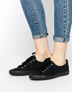 huge selection of 2702e ce4cb ASOS DAGNALL Canvas Lace Up Sneakers Personlig Stil, Svarta Sneakers,  Shoppa, Skor,