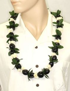Black Polished Kuku Nut Candlenut Lei with Pikake and Fern
