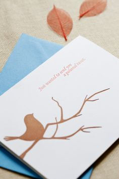2 color 100% cotton paper original art horizontal 5x7 card matching (not blue, but white) A7 envelope
