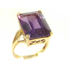 Luxury Solid 14K Yellow Gold Large 16x12mm Octagon cut Synthetic Alexandrite Ring - Finger Sizes 5 to 12 Available - Perfect Gift for Birthday, Christmas, Valentines Day, Mothers Day, Mom, Mother, Grandmother, Daughter, Graduation, Bridesmaid. LetsBuyGold. $457.00. Solid Gold. Rare British Hallmark. Free Shipping. Free Luxury Presentation Box. Rare Large Stone