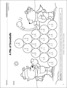 math worksheet : free winter math subtraction page for kindergarten and 1st grade  : Free Printable Math Worksheets For 1st Grade