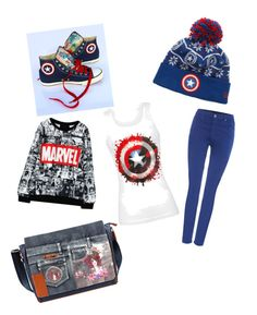"""Captain America!!!"" by peaceangel2025 on Polyvore featuring Converse, Marvel Comics, AG Adriano Goldschmied and Nicole Lee"