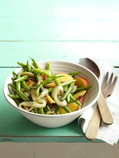 Green Bean Salad - served warm or cold.  Sounds like an interesting flavor mix with green beans, peaches, onion, rosemary and lime.